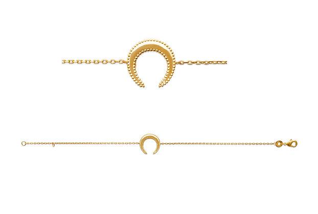 Bracelet croissant de lune plaqué or N°3