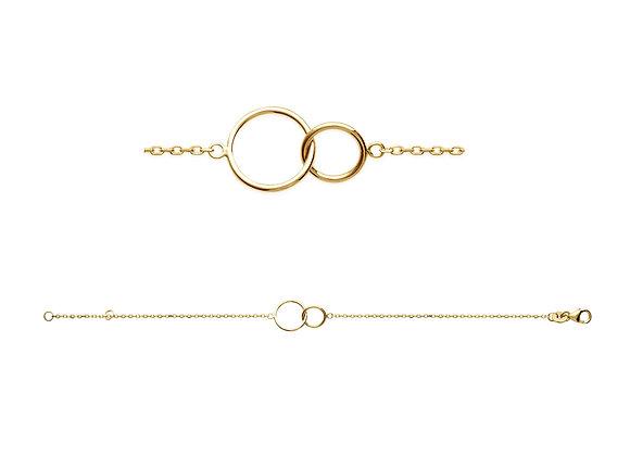 Bracelet 2 cercles plaqué or