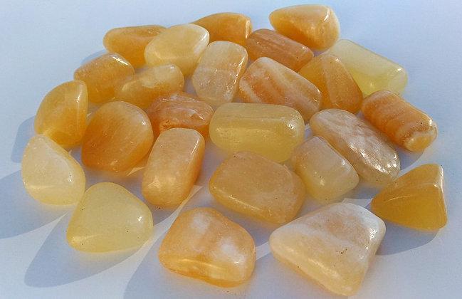 Calcite orange pierre polie