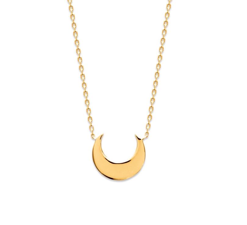 collier croissant de lune plaqué or