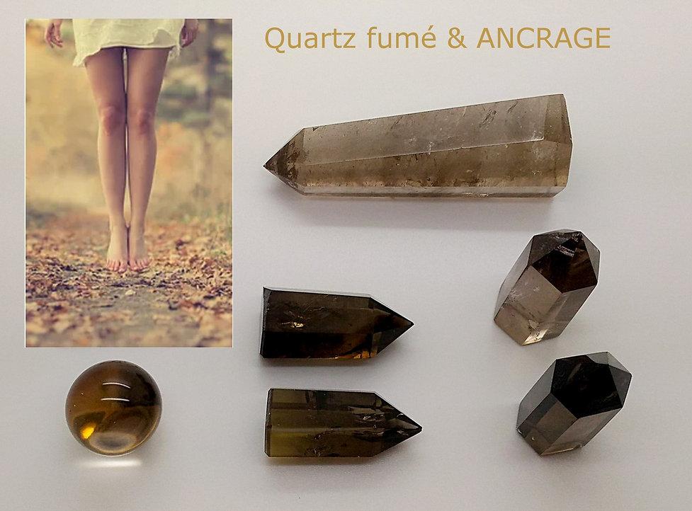 quartz fumé poli, pierre roulée, pointe quartz fumé et sphère pour lithothérapie et ancrage.