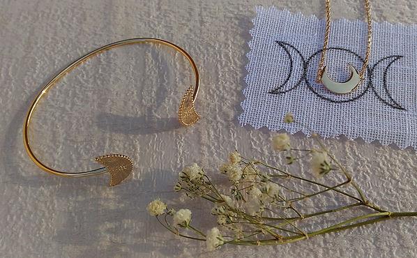 Bracelet croissant de lune. bracelet croissant lune argent 925. Bracelet croissant de lune plaqué or.