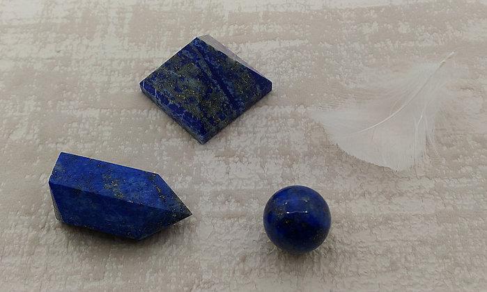 Lapis lazuli TRIO chakra frontal - pyramide, pointe, sphère