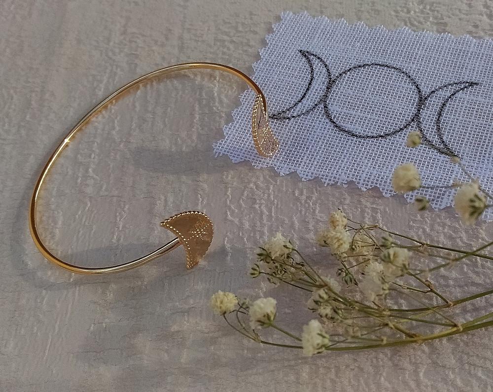Bracelet lune. Bracelet lune argent 925 et plaqué or.