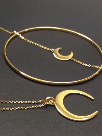 collier et bracelet lune