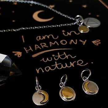 bijou lune en argent et plaqué or