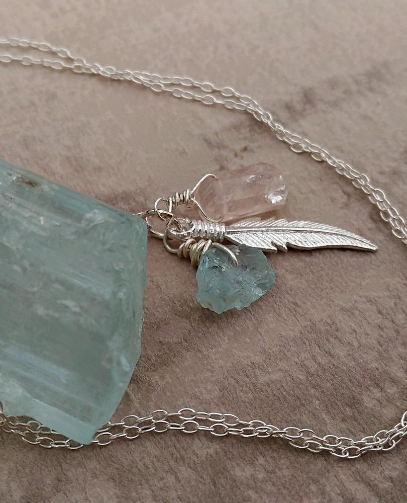 bijou talisman pendentif aigue marine et