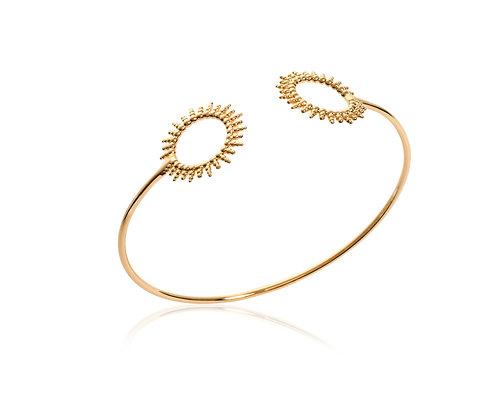 Bracelet soleil jonc plaqué or