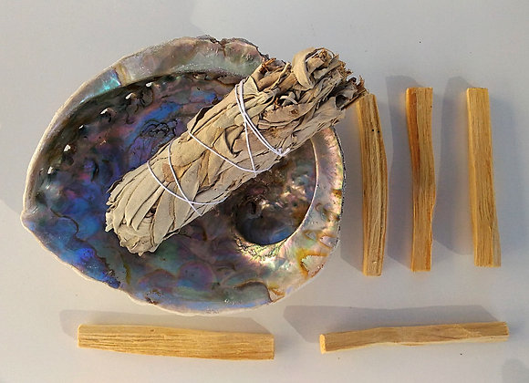 TRIO palo santo bâton de sauge blanche coquillage