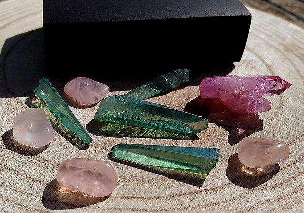 Quartz AQUA AURA kit pierres harmonisation chakra du coeur
