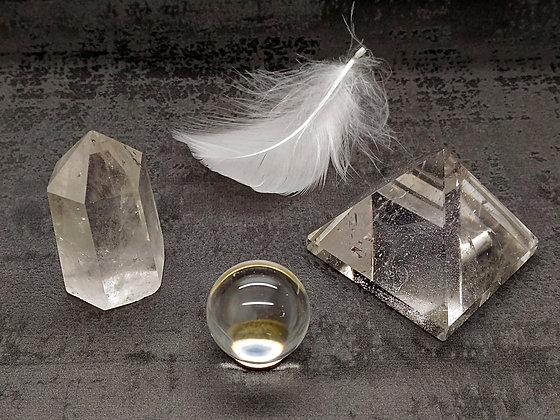 Cristal de quartz TRIO chakra frontal - pyramide, pointe, sphère