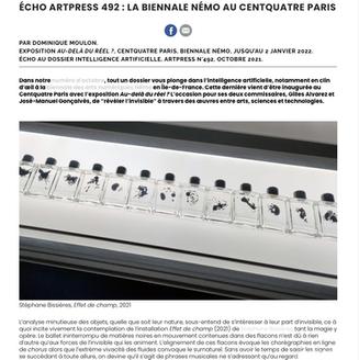 Article by Dominique Moulon, Artpress N°492, Octobre 2021