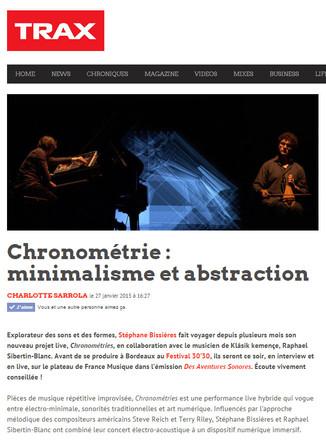 Trax Magazine publie un article sur Chronométries