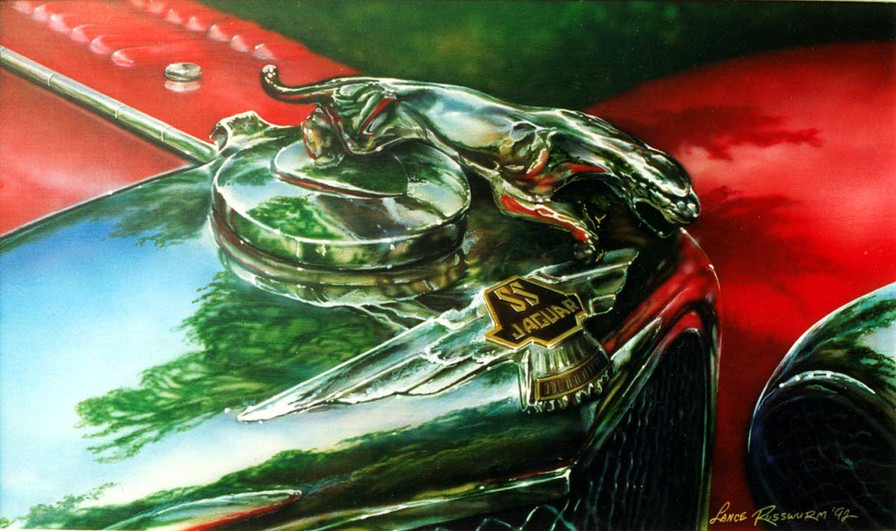 Jaguar SS 100 - 1992, acrylic on panel