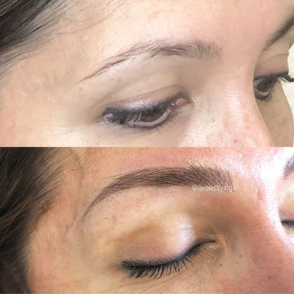 The right eyebrow guys!!! Love them!  Sweat-proof eyebrows for this gal that is a fitness figure!!!_._Permanent Makeup Ibrows by Olga.jpg