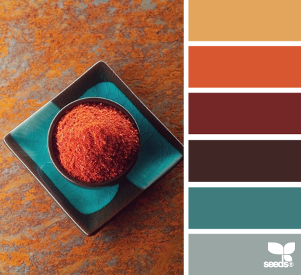 palette turchese e arancio