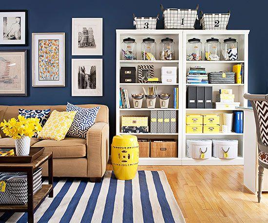 soggiorno blu e giallo