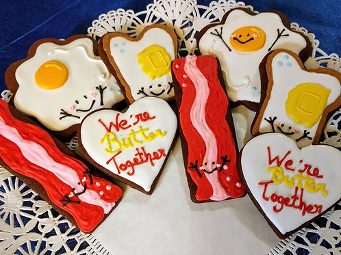 Breakfast Themed Valentine's Day Cookies