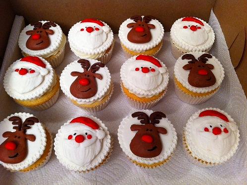 Santa & Reindeer Cupcakes Toppers