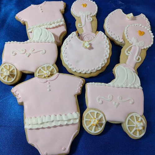 Gold detailed girl baby shower cookies