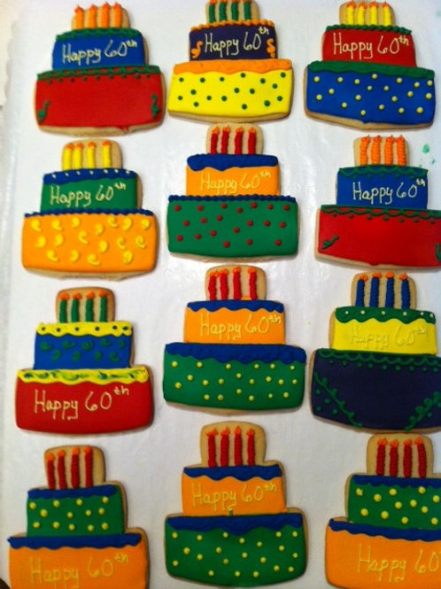 Bright color birthday cake cookies