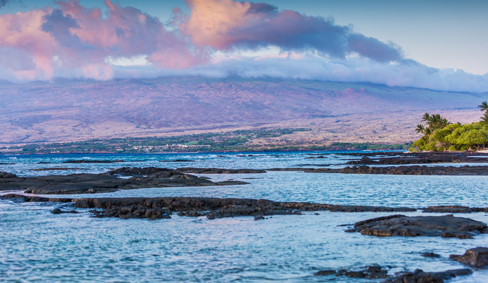 Looking out from Puako to the Kohala Mountain