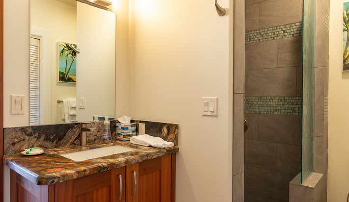 Full bathroom on the first floor with access to the pool