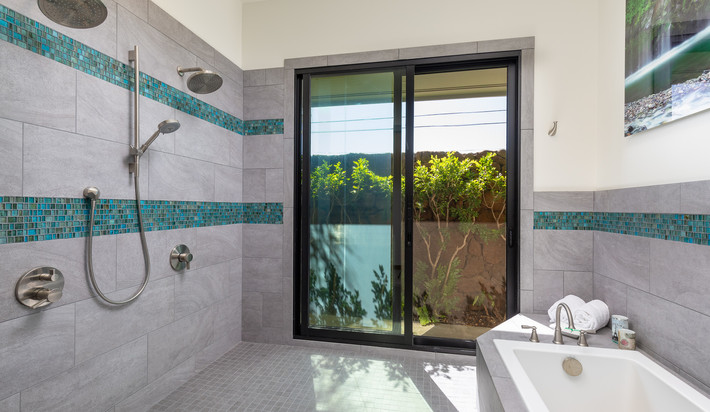 Walk-in shower and tub