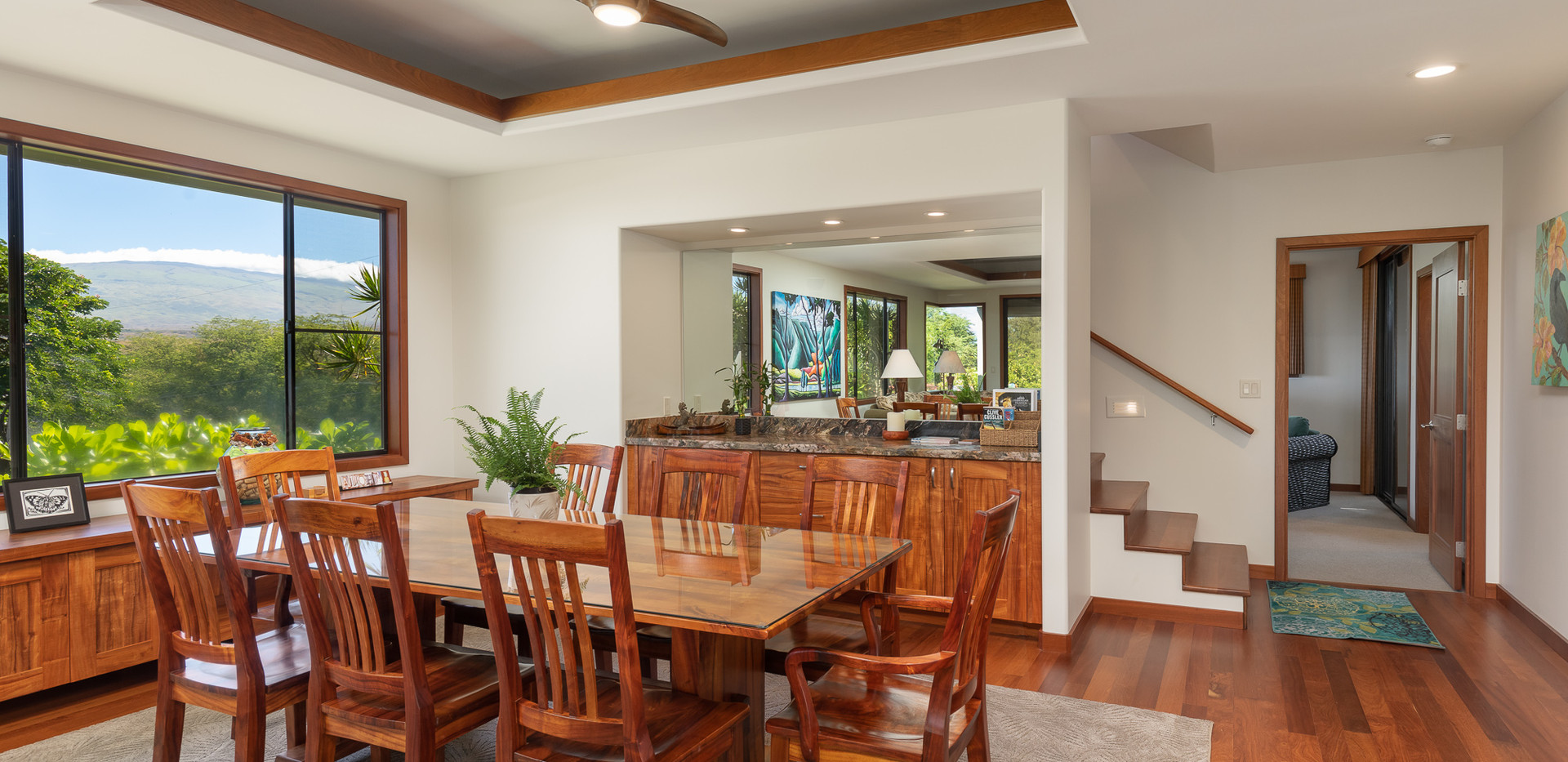 Koa wood dining table and chairs