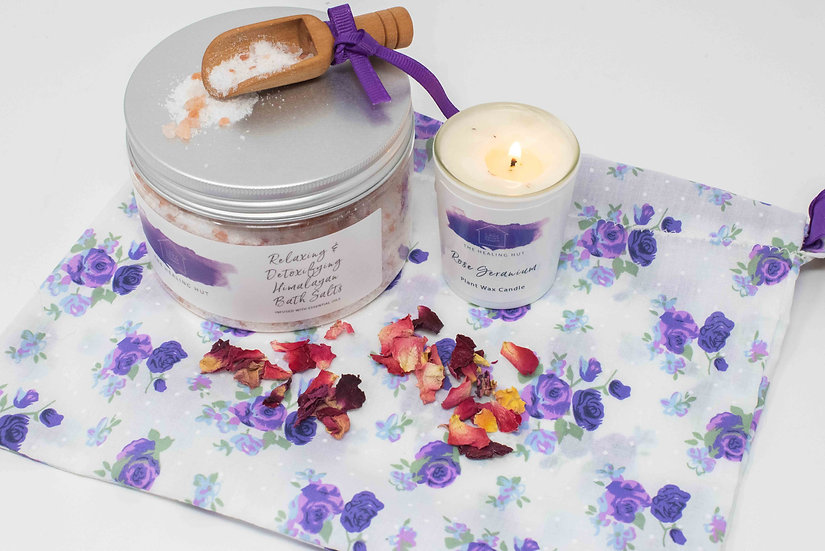 Gift Set containing Himalayan Bath Salts and Rose Votive Candle