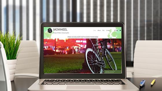 Mowheel Website Mock Up on Laptop by Bee More Design