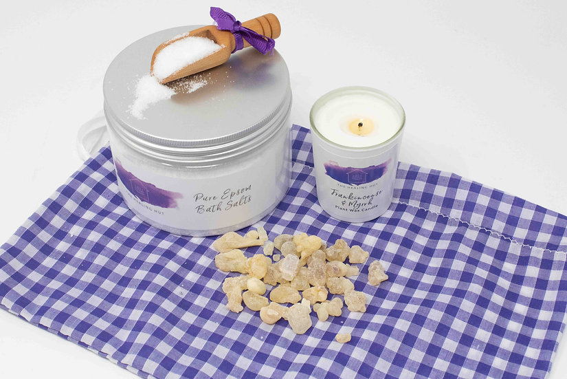 Epsom Bath Salts and Frankincense Votive Candle Luxury Set from The Healing Hut