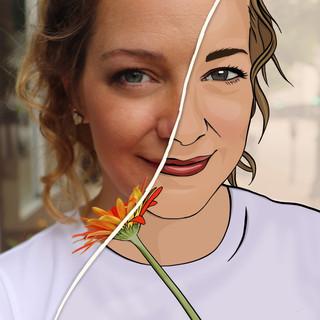 Half Illustrated Self Portrait