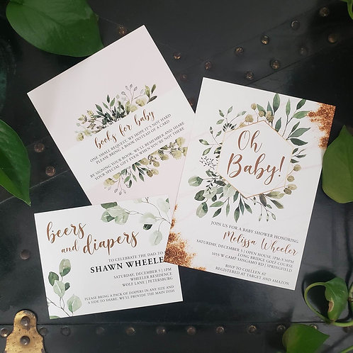 Greenery + Gold Baby Shower Invitation
