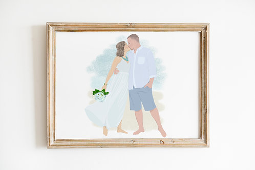 Custom Wedding Couple Portrait