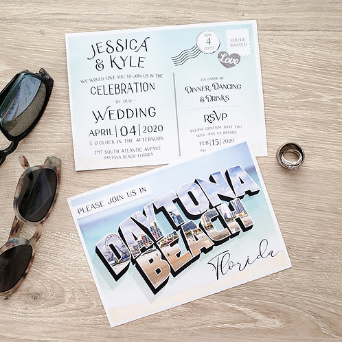 Destination Postcard Wedding Invitation