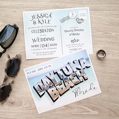 Destination Postcard Wedding Invitation
