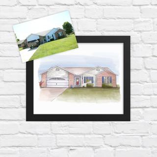 Digital Watercolor House Illustration