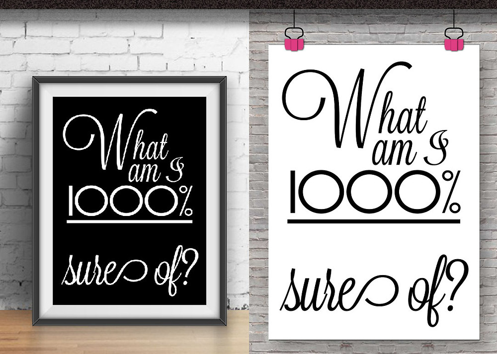 What am I 1000% sure of? motivational printable