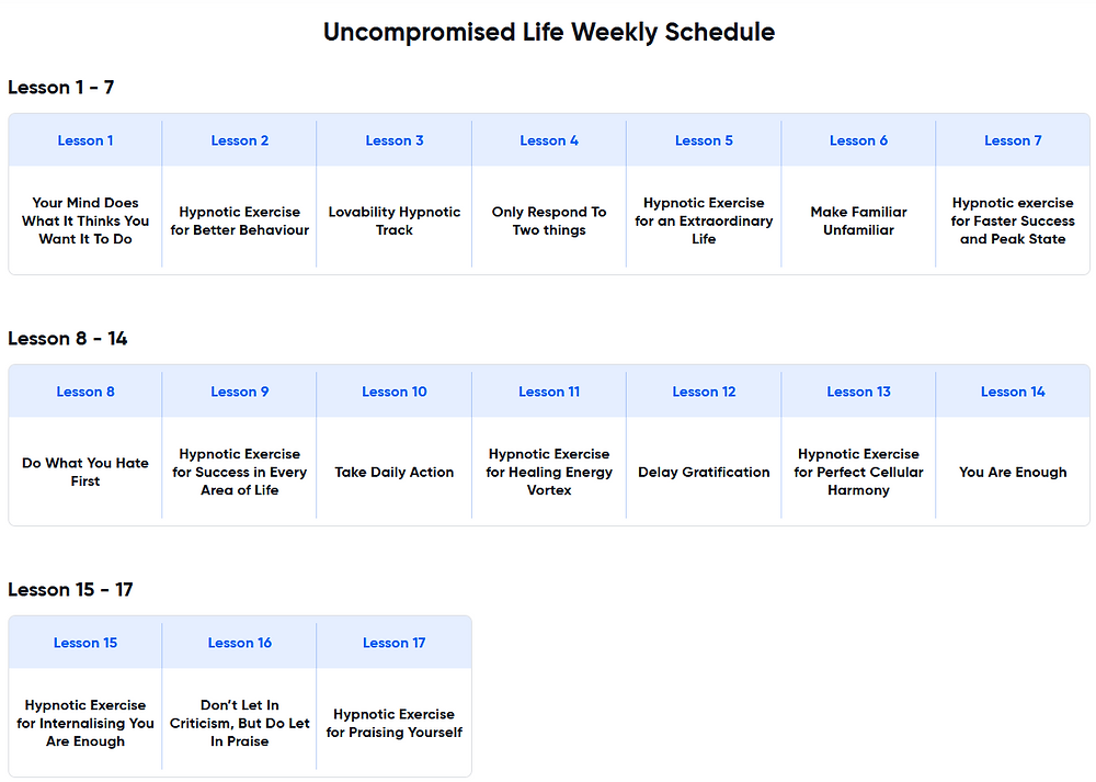 Uncompromised Life Weekly Schedule