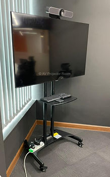 Portable Logitech Meetup Video conferencing set Installation with TV Trolley