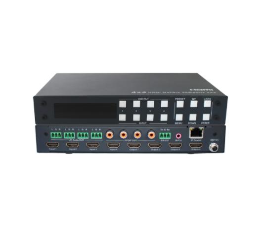 4x4 HDMI2.0 Matrix Switcher - Support 4K@60hz YUV4:4:4, 18Gbps, HDR