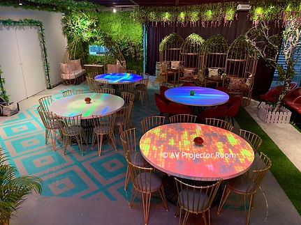 Projection on table with cropping and blending using laser projector stacking in Malaysia