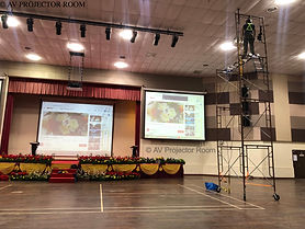 Large venue auditorium installation with scaffolding by AV Projector room Klang valley
