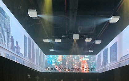 360 degree curve screen projector blending by AV projector room malaysia