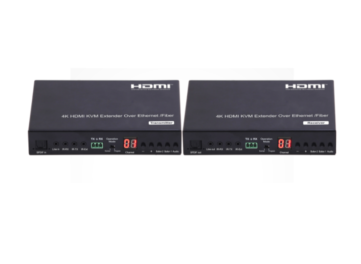 4K Low latency KVM HDMI Extender over IP/Fiber with RS232, Remote and LED