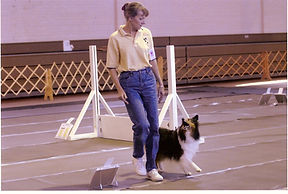 Phyllis Beasley competes in Rally Obedience with Laddie
