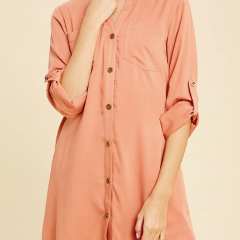 Long Sleeve Shirt Dress - Salmon