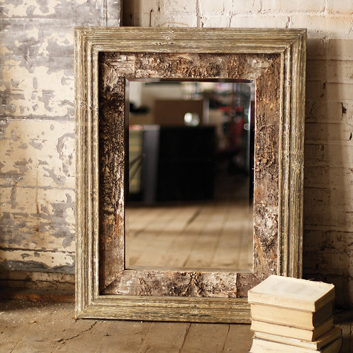 Wooden Birch Mirror