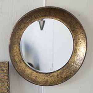 Antiqued Gold Metal Round Mirror